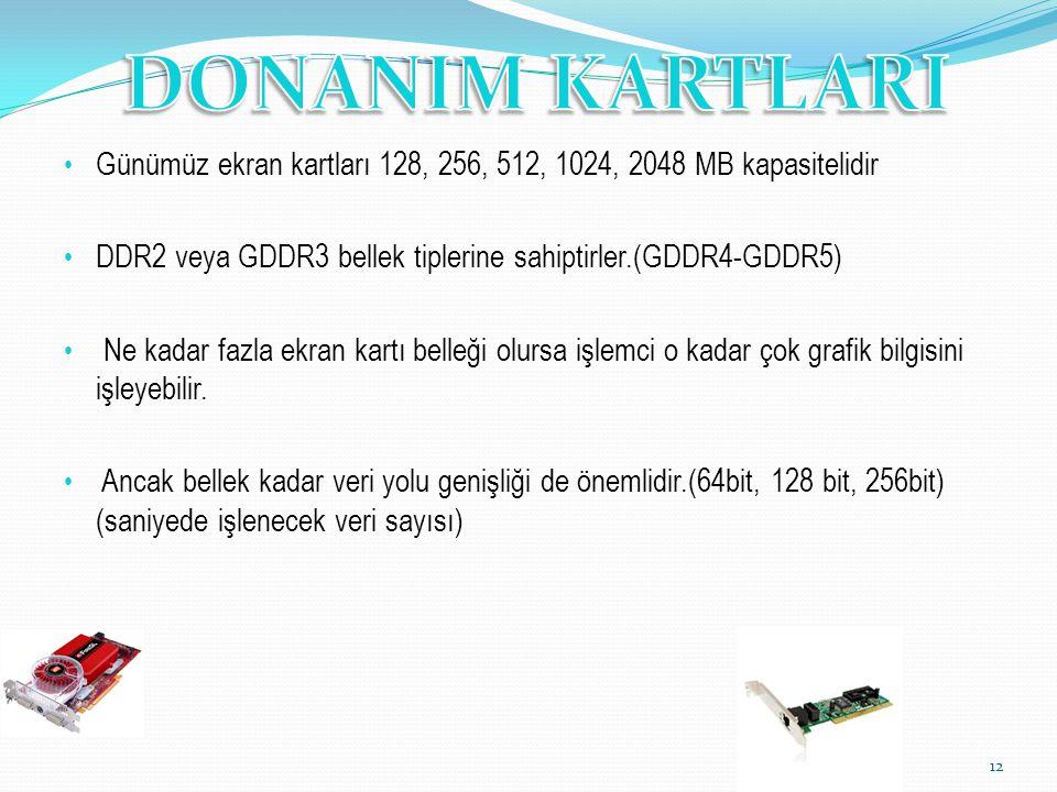 Günümüz ekran kartları 128, 256, 512, 1024, 2048 MB kapasitelidir DDR2 veya GDDR3 bellek tiplerine sahiptirler.(GDDR4-GDDR5) Ne kadar fazla ekran kart