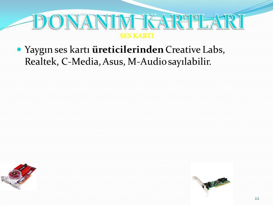 Yaygın ses kartı üreticilerinden Creative Labs, Realtek, C-Media, Asus, M-Audio sayılabilir. 22 SES KARTI