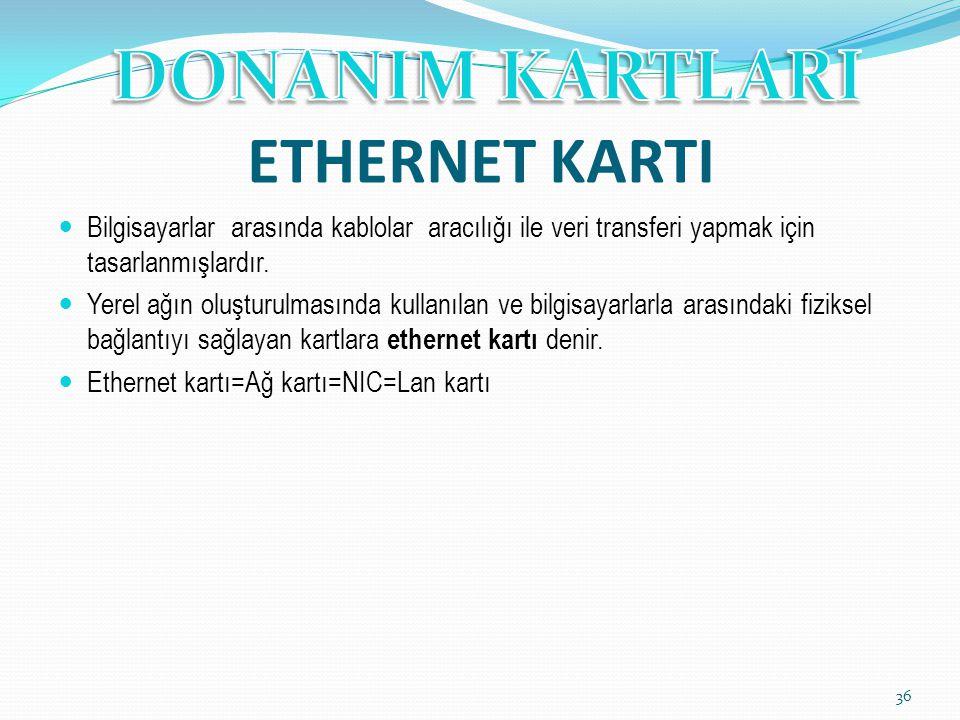 ETHERNET KARTI Bilgisayarlar arasında kablolar aracılığı ile veri transferi yapmak için tasarlanmışlardır. Yerel ağın oluşturulmasında kullanılan ve b
