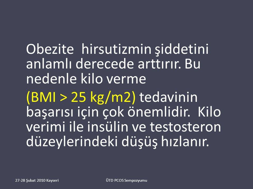 Obezite hirsutizmin şiddetini anlamlı derecede arttırır.
