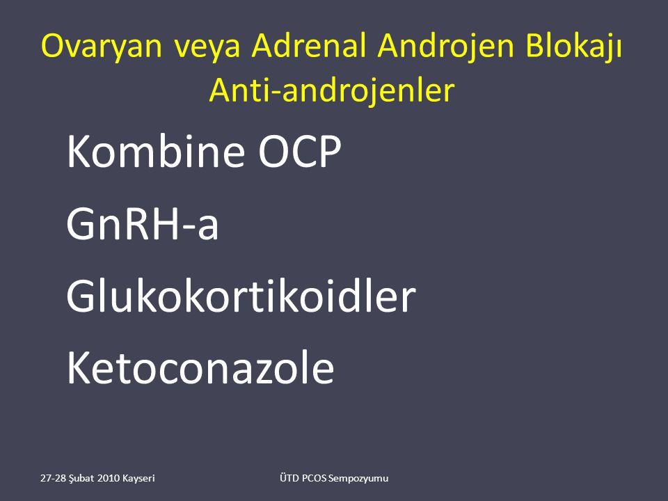 Ovaryan veya Adrenal Androjen Blokajı Anti-androjenler Kombine OCP GnRH-a Glukokortikoidler Ketoconazole 27-28 Şubat 2010 KayseriÜTD PCOS Sempozyumu