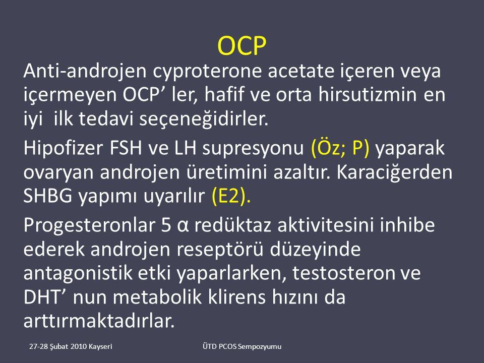 OCP Anti-androjen cyproterone acetate içeren veya içermeyen OCP' ler, hafif ve orta hirsutizmin en iyi ilk tedavi seçeneğidirler.