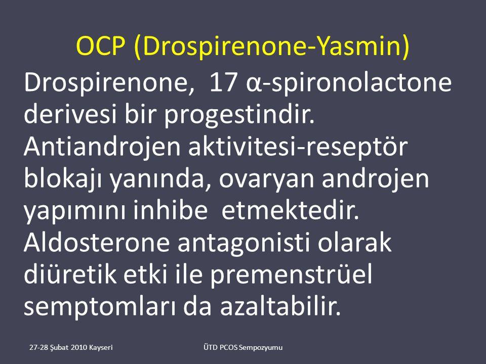 OCP (Drospirenone-Yasmin) Drospirenone, 17 α-spironolactone derivesi bir progestindir.