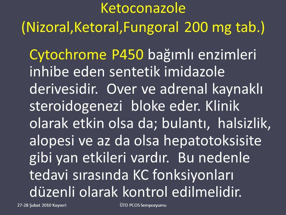 Ketoconazole (Nizoral,Ketoral,Fungoral 200 mg tab.) Cytochrome P450 bağımlı enzimleri inhibe eden sentetik imidazole derivesidir.