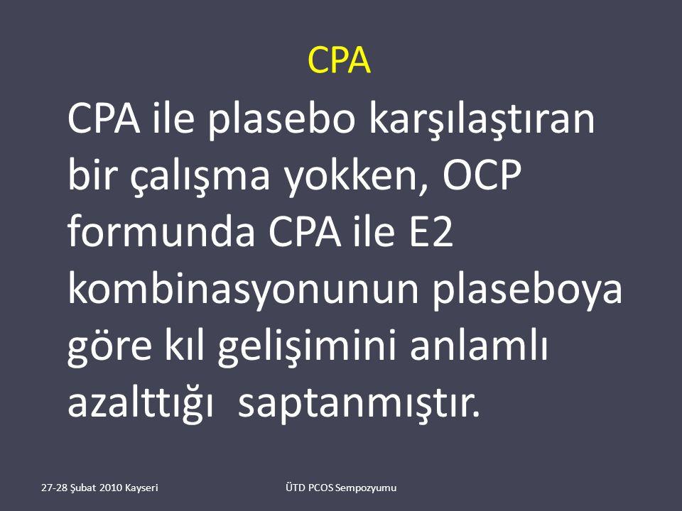 CPA CPA ile plasebo karşılaştıran bir çalışma yokken, OCP formunda CPA ile E2 kombinasyonunun plaseboya göre kıl gelişimini anlamlı azalttığı saptanmıştır.