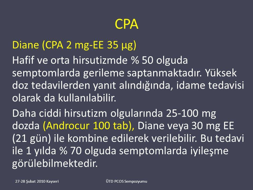 CPA Diane (CPA 2 mg-EE 35 μg) Hafif ve orta hirsutizmde % 50 olguda semptomlarda gerileme saptanmaktadır.