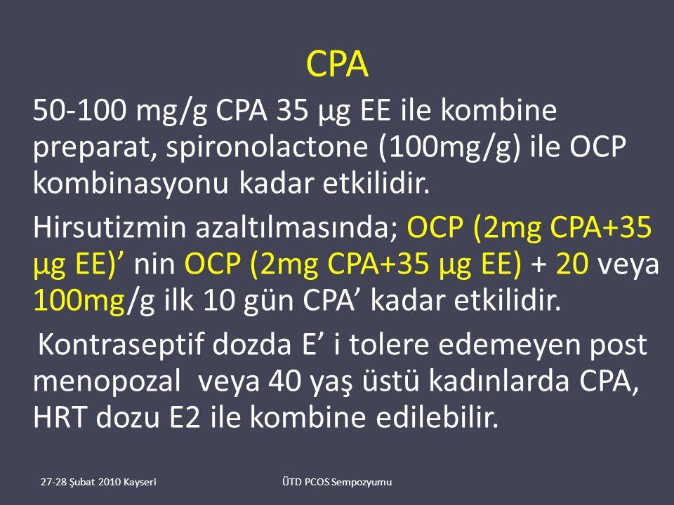 CPA 50-100 mg/g CPA 35 μg EE ile kombine preparat, spironolactone (100mg/g) ile OCP kombinasyonu kadar etkilidir.