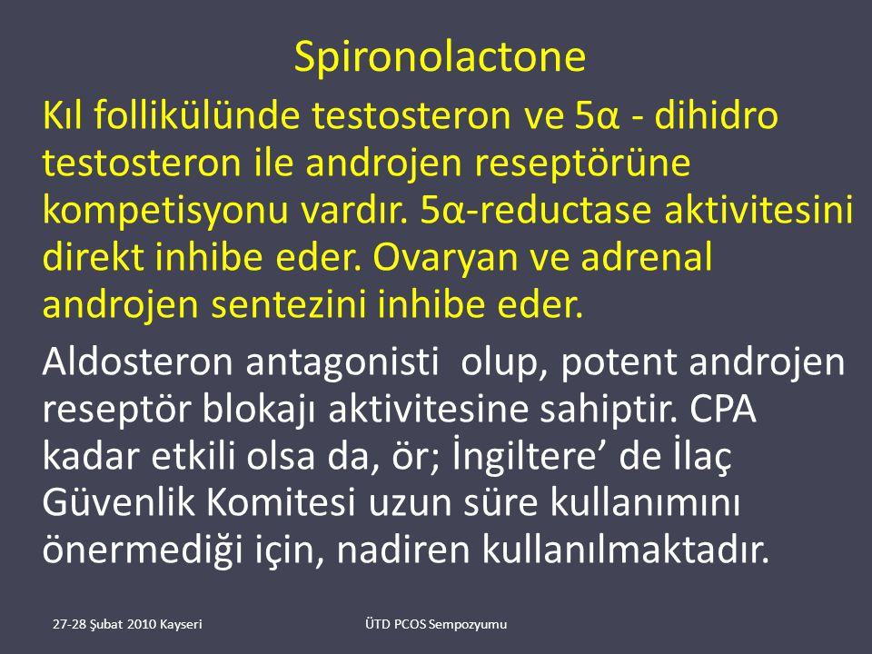 Spironolactone Kıl follikülünde testosteron ve 5α - dihidro testosteron ile androjen reseptörüne kompetisyonu vardır.