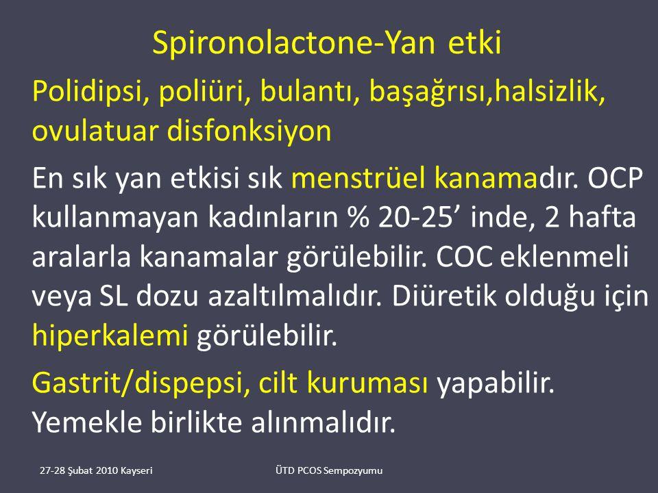 Spironolactone-Yan etki Polidipsi, poliüri, bulantı, başağrısı,halsizlik, ovulatuar disfonksiyon En sık yan etkisi sık menstrüel kanamadır.