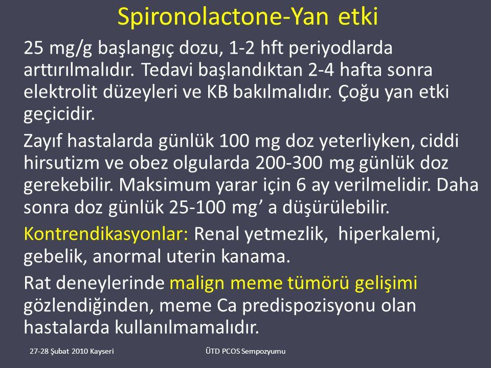 Spironolactone-Yan etki 25 mg/g başlangıç dozu, 1-2 hft periyodlarda arttırılmalıdır.