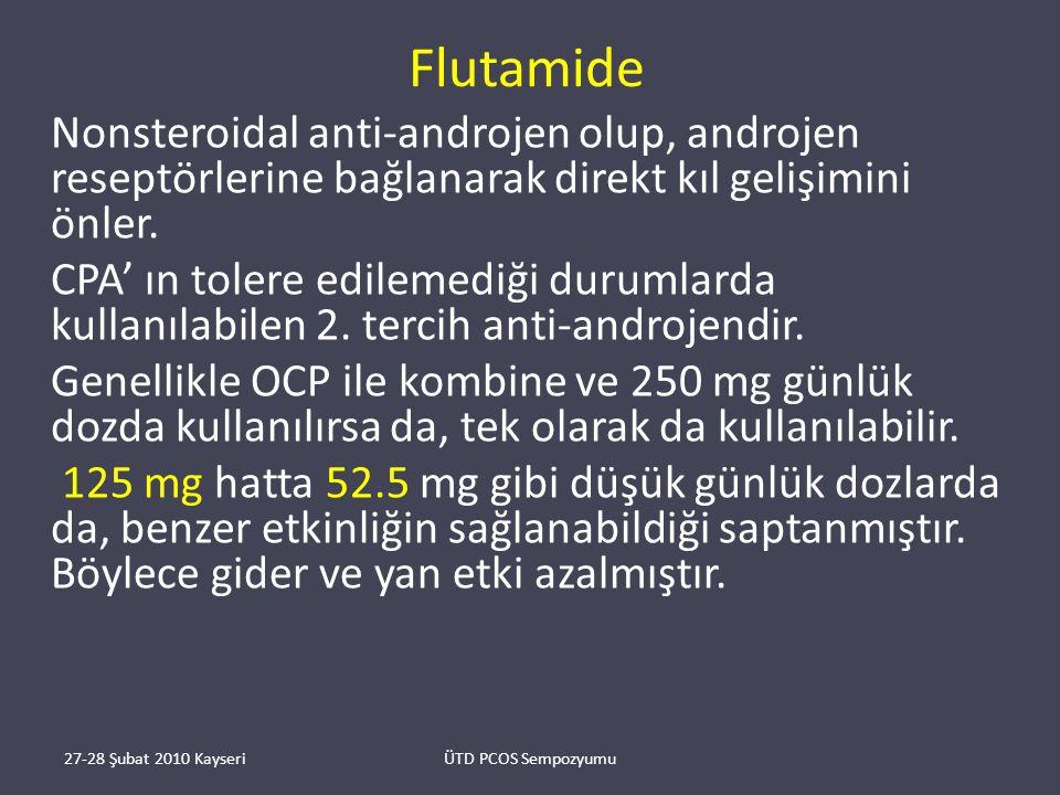 Flutamide Nonsteroidal anti-androjen olup, androjen reseptörlerine bağlanarak direkt kıl gelişimini önler.