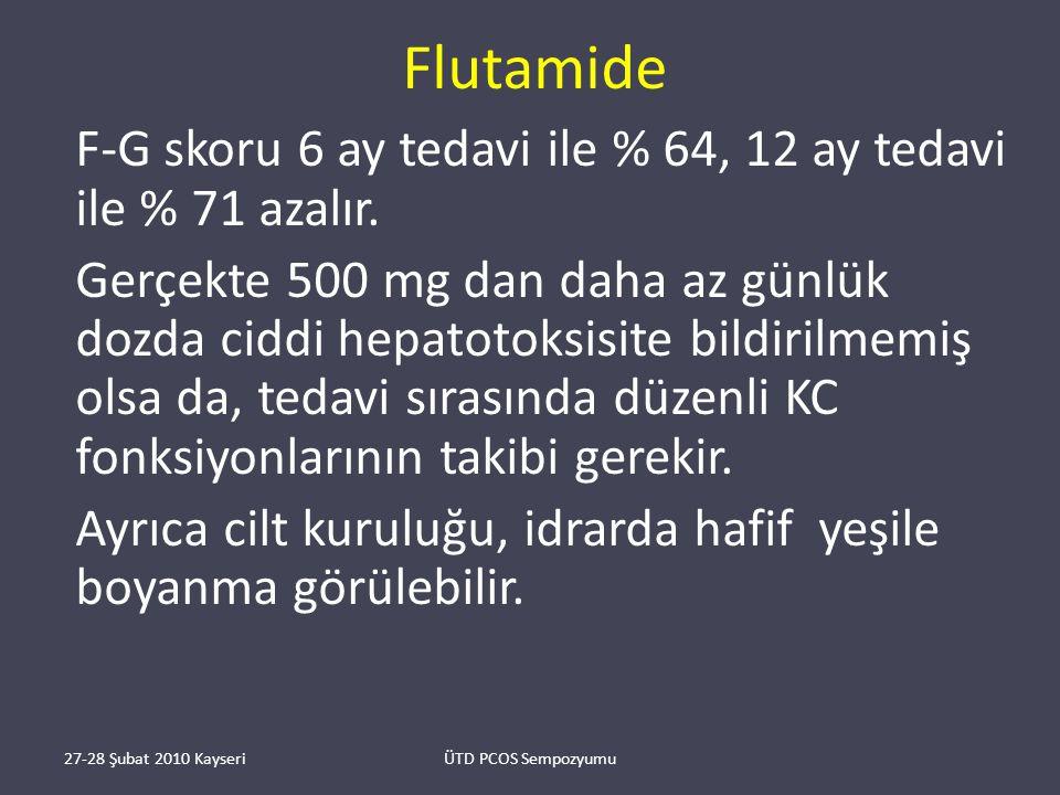 Flutamide F-G skoru 6 ay tedavi ile % 64, 12 ay tedavi ile % 71 azalır.