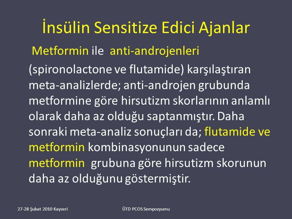 İnsülin Sensitize Edici Ajanlar Metformin ile anti-androjenleri (spironolactone ve flutamide) karşılaştıran meta-analizlerde; anti-androjen grubunda metformine göre hirsutizm skorlarının anlamlı olarak daha az olduğu saptanmıştır.