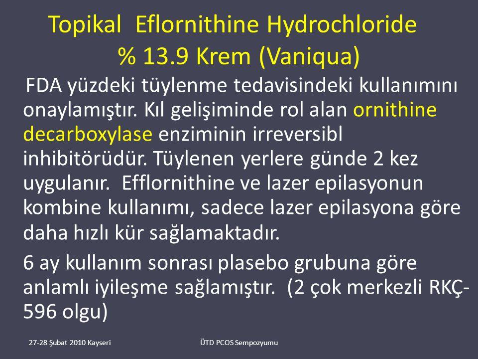 Topikal Eflornithine Hydrochloride % 13.9 Krem (Vaniqua) FDA yüzdeki tüylenme tedavisindeki kullanımını onaylamıştır.