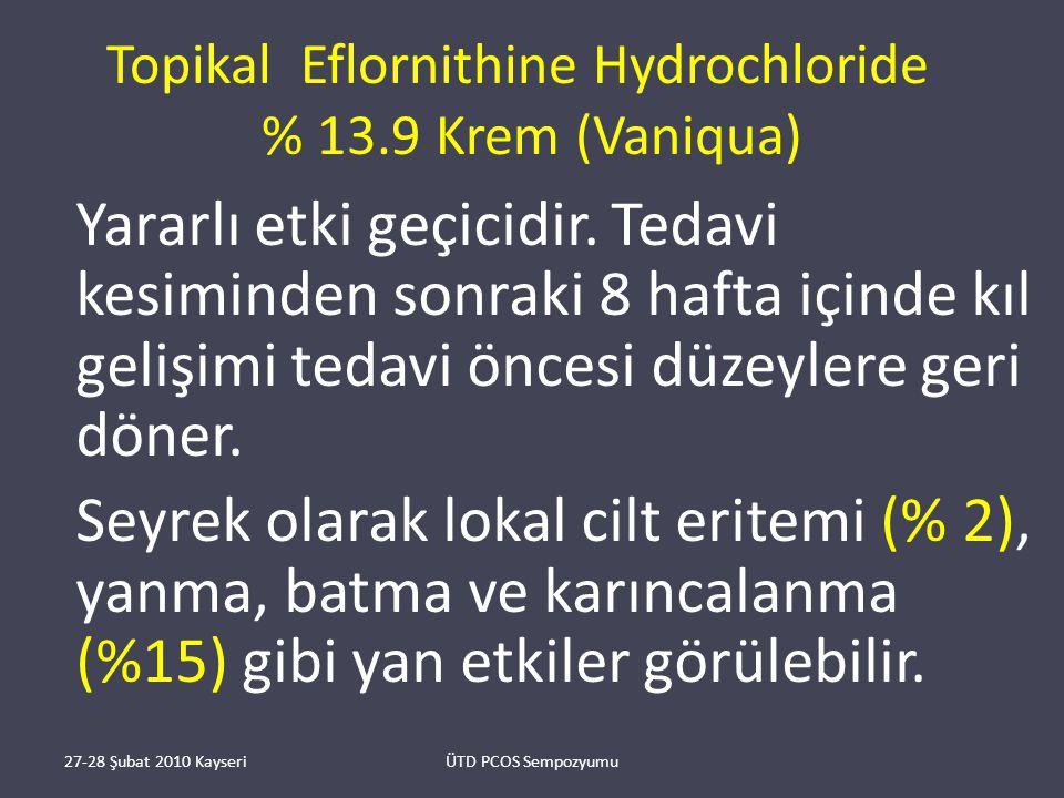 Topikal Eflornithine Hydrochloride % 13.9 Krem (Vaniqua) Yararlı etki geçicidir.