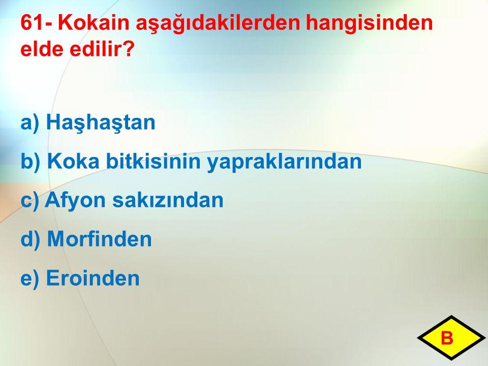 61- Kokain aşağıdakilerden hangisinden elde edilir? a) Haşhaştan b) Koka bitkisinin yapraklarından c) Afyon sakızından d) Morfinden e) Eroinden B