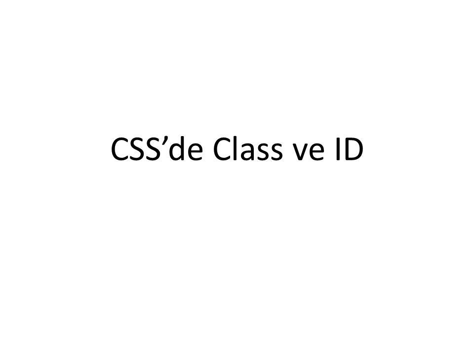 CSS'de Class ve ID