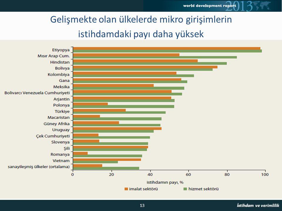 Gelişmekte olan ülkelerde mikro girişimlerin istihdamdaki payı daha yüksek 13 İstihdam ve verimlilik istihdam payı, % imalat sektörü hizmet sektörü