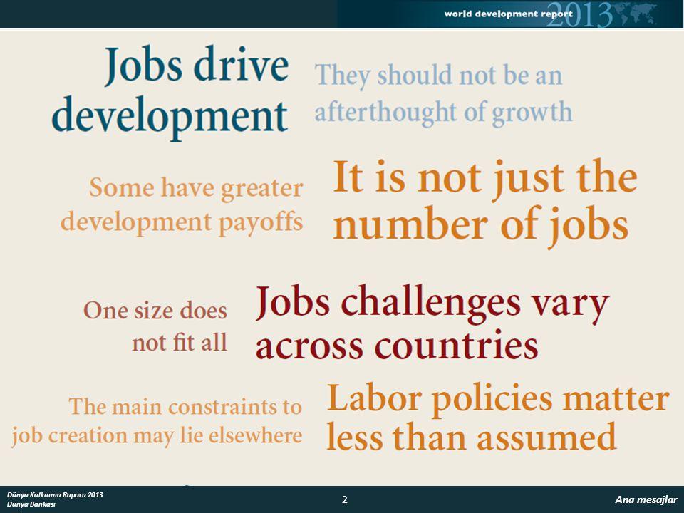 2 Ana mesajlar Dünya Kalkınma Raporu 2013 Dünya Bankası