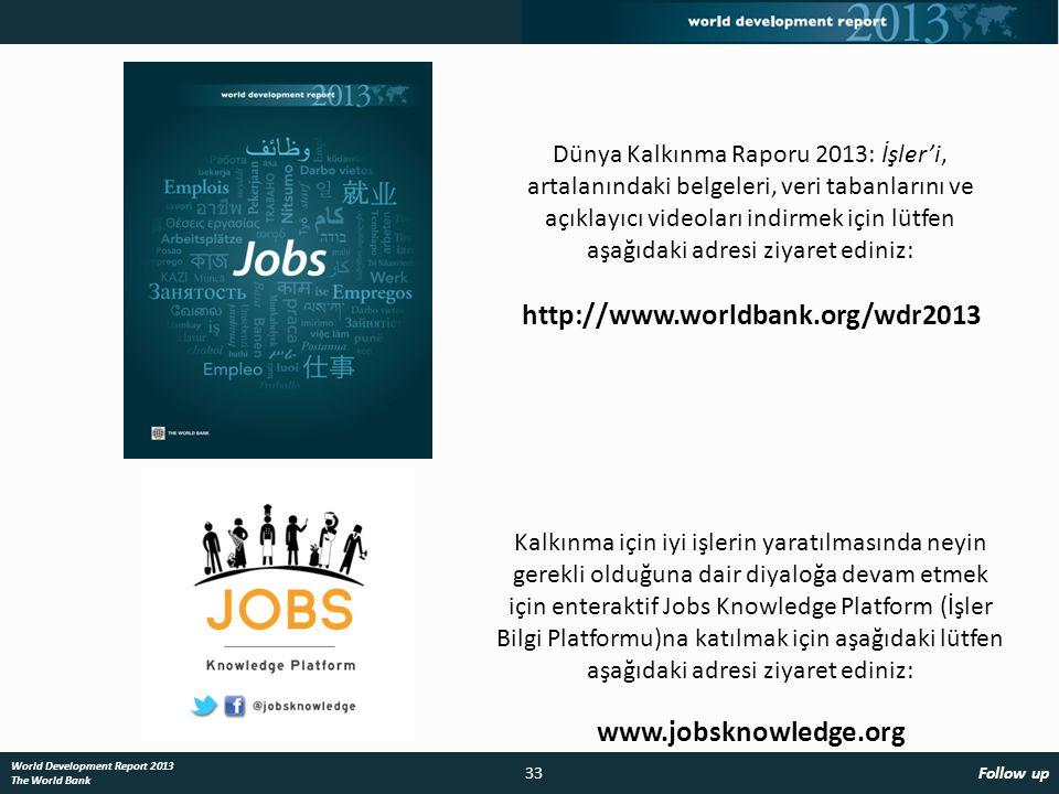 33 Follow up World Development Report 2013 The World Bank Kalkınma için iyi işlerin yaratılmasında neyin gerekli olduğuna dair diyaloğa devam etmek için enteraktif Jobs Knowledge Platform (İşler Bilgi Platformu)na katılmak için aşağıdaki lütfen aşağıdaki adresi ziyaret ediniz: www.jobsknowledge.org Dünya Kalkınma Raporu 2013: İşler'i, artalanındaki belgeleri, veri tabanlarını ve açıklayıcı videoları indirmek için lütfen aşağıdaki adresi ziyaret ediniz: http://www.worldbank.org/wdr2013