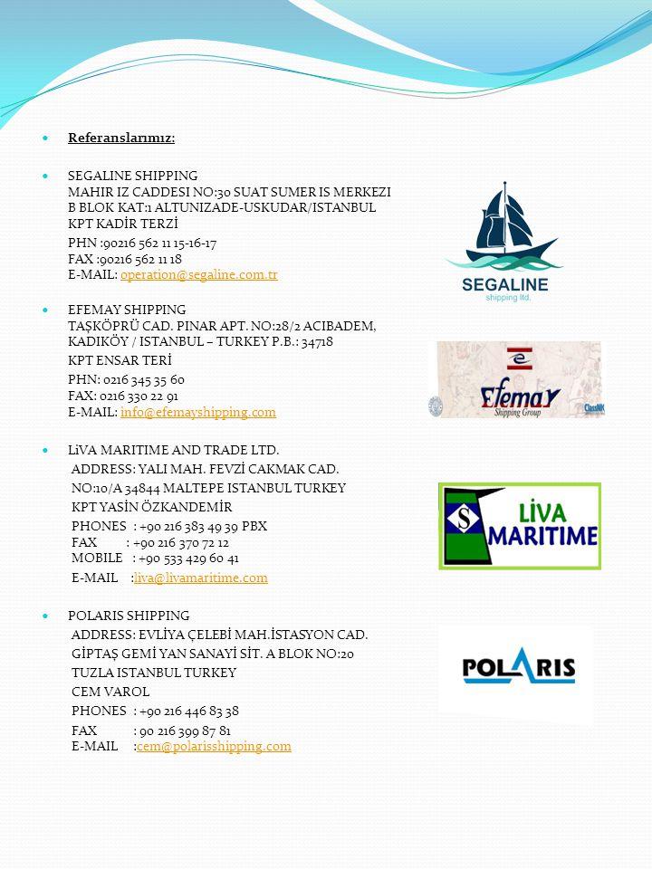 Referanslarımız: AKMAR SHIPPING KUCUKBAKKALKOY MH.CİCEK SK.
