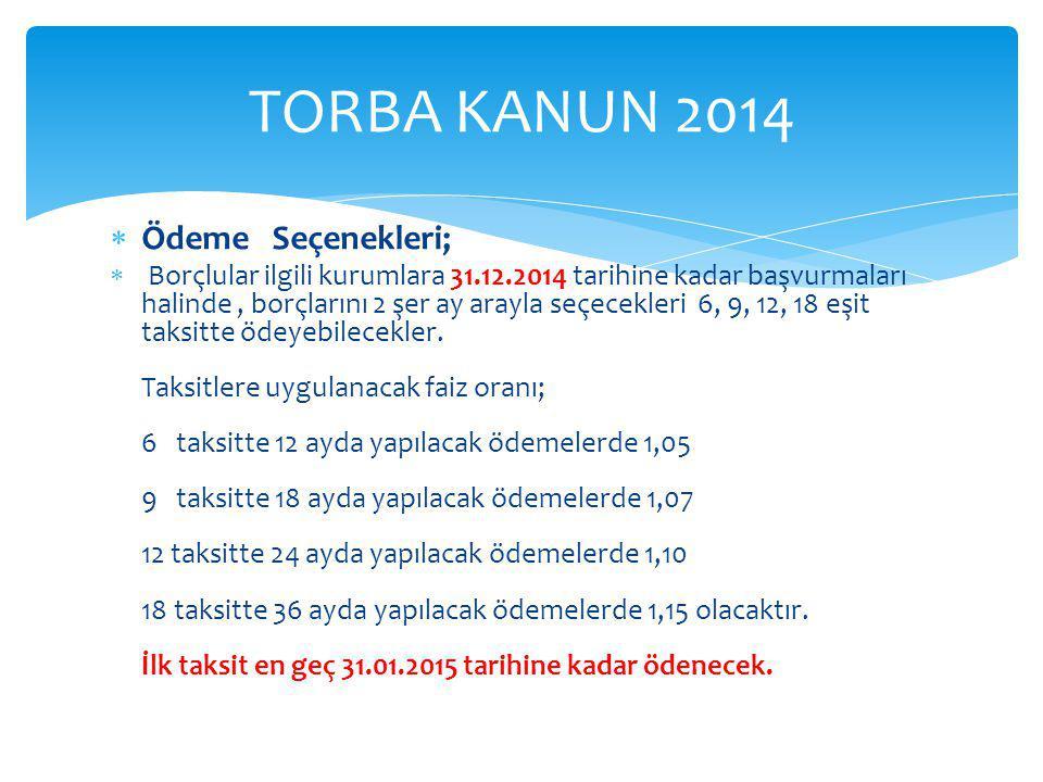  Ödeme Seçenekleri;  Borçlular ilgili kurumlara 31.12.2014 tarihine kadar başvurmaları halinde, borçlarını 2 şer ay arayla seçecekleri 6, 9, 12, 18