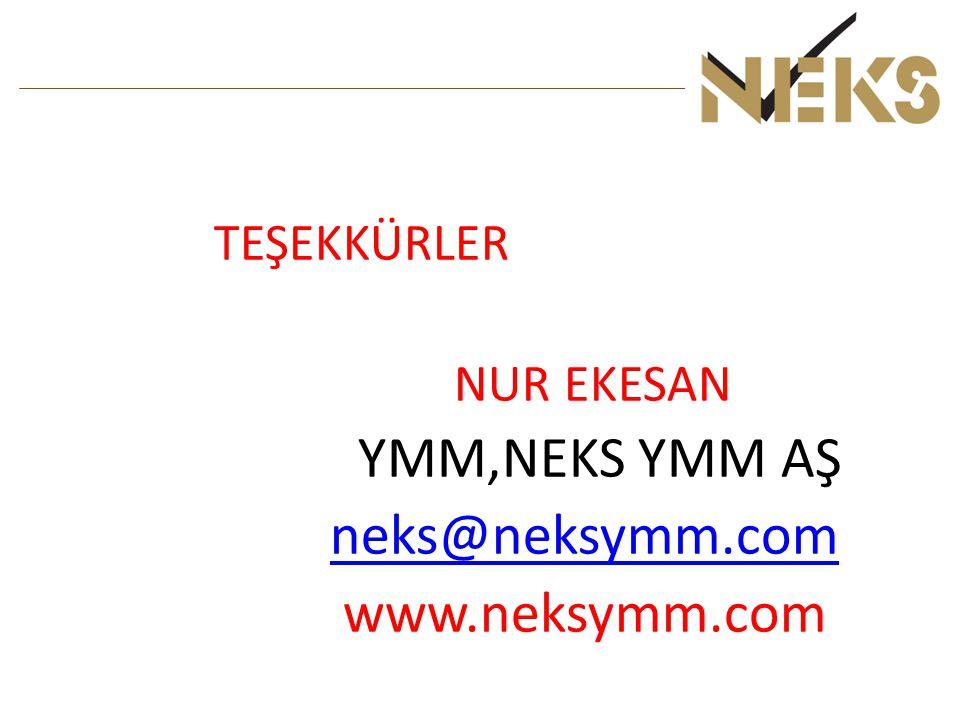 TEŞEKKÜRLER NUR EKESAN YMM,NEKS YMM AŞ neks@neksymm.com www.neksymm.com
