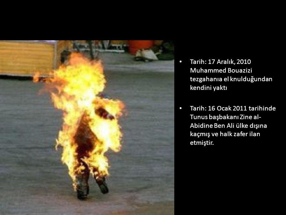 Tarih: 17 Aralık, 2010 Muhammed Bouazizi tezgahanıa el knulduğundan kendini yaktı Tarih: 16 Ocak 2011 tarihinde Tunus başbakanı Zine al- Abidine Ben Ali ülke dışına kaçmış ve halk zafer ilan etmiştir.