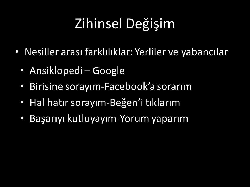 Zihinsel Değişim Nesiller arası farklılıklar: Yerliler ve yabancılar Ansiklopedi – Google Birisine sorayım-Facebook'a sorarım Hal hatır sorayım-Beğen'i tıklarım Başarıyı kutluyayım-Yorum yaparım