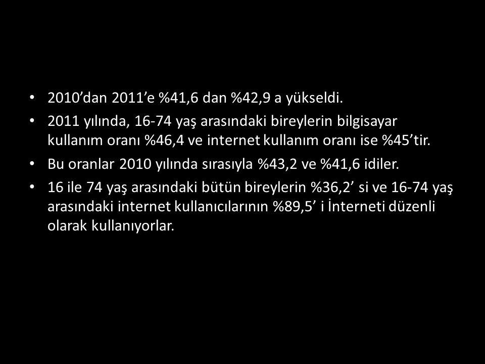 2010'dan 2011'e %41,6 dan %42,9 a yükseldi.