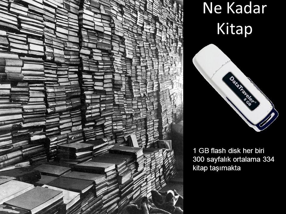 Ne Kadar Kitap 1 GB flash disk her biri 300 sayfalık ortalama 334 kitap taşımakta