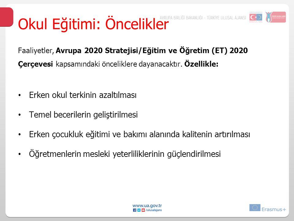 Faaliyetler, Avrupa 2020 Stratejisi/Eğitim ve Öğretim (ET) 2020 Çerçevesi kapsamındaki önceliklere dayanacaktır.