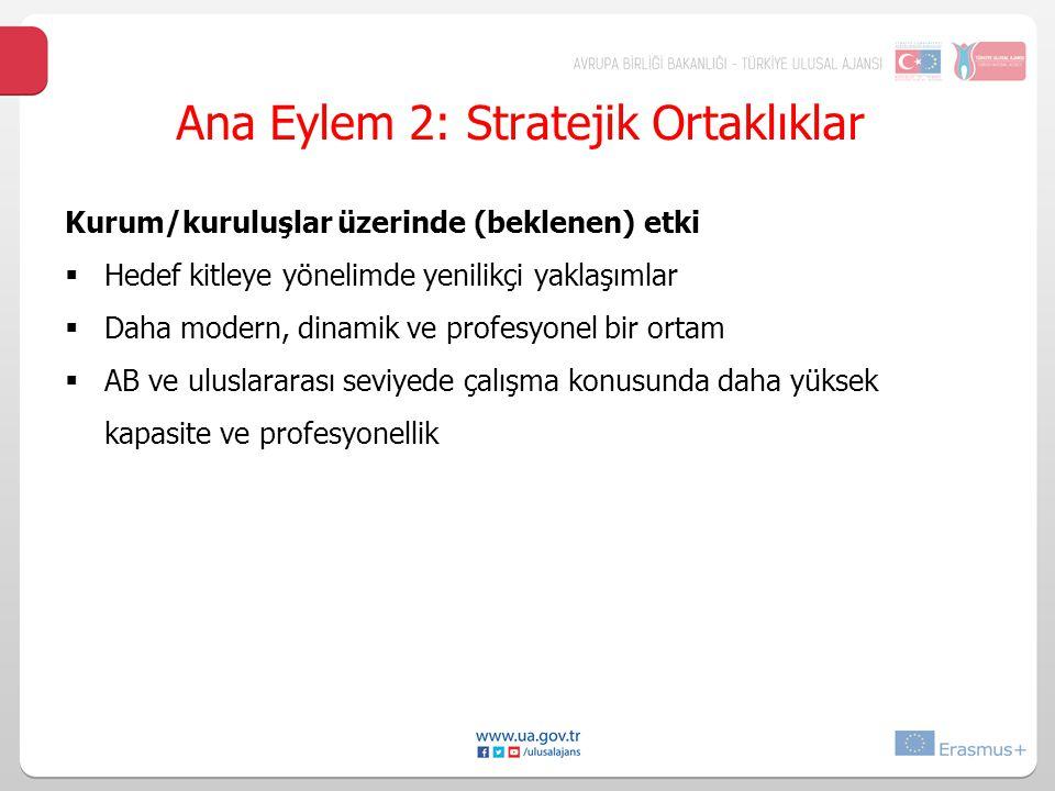 Ana Eylem 2: Stratejik Ortaklıklar Kurum/kuruluşlar üzerinde (beklenen) etki  Hedef kitleye yönelimde yenilikçi yaklaşımlar  Daha modern, dinamik ve profesyonel bir ortam  AB ve uluslararası seviyede çalışma konusunda daha yüksek kapasite ve profesyonellik