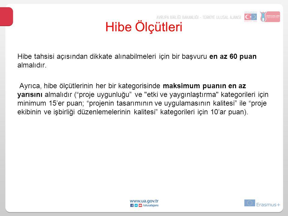 Hibe tahsisi açısından dikkate alınabilmeleri için bir başvuru en az 60 puan almalıdır.