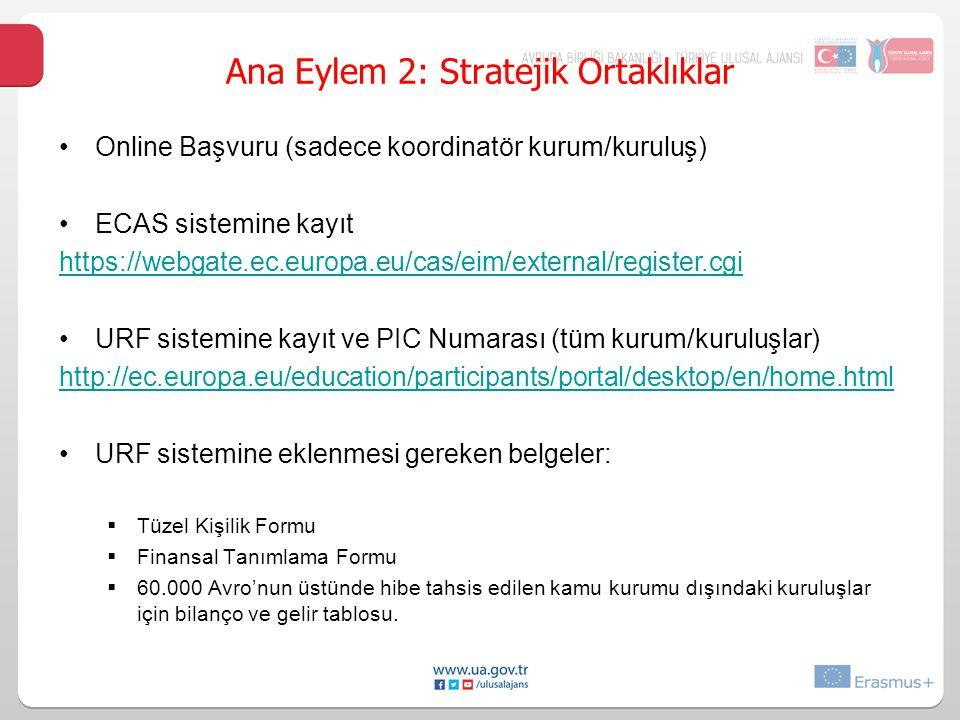 Online Başvuru (sadece koordinatör kurum/kuruluş) ECAS sistemine kayıt https://webgate.ec.europa.eu/cas/eim/external/register.cgi URF sistemine kayıt ve PIC Numarası (tüm kurum/kuruluşlar) http://ec.europa.eu/education/participants/portal/desktop/en/home.html URF sistemine eklenmesi gereken belgeler:  Tüzel Kişilik Formu  Finansal Tanımlama Formu  60.000 Avro'nun üstünde hibe tahsis edilen kamu kurumu dışındaki kuruluşlar için bilanço ve gelir tablosu.