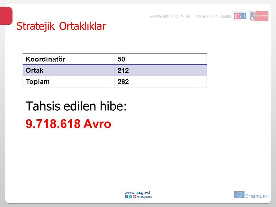 Tahsis edilen hibe: 9.718.618 Avro Stratejik Ortaklıklar Koordinatör50 Ortak212 Toplam262