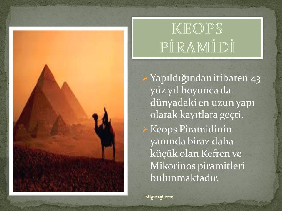 Piramit 4. Hanedanlık zamanında M.Ö. 2560 yılında Firavun Khufu (Keops) tarafından yaptırıldı. Keops Piramidi'nin yapımının 20 yılı aştığı sanılıyor.