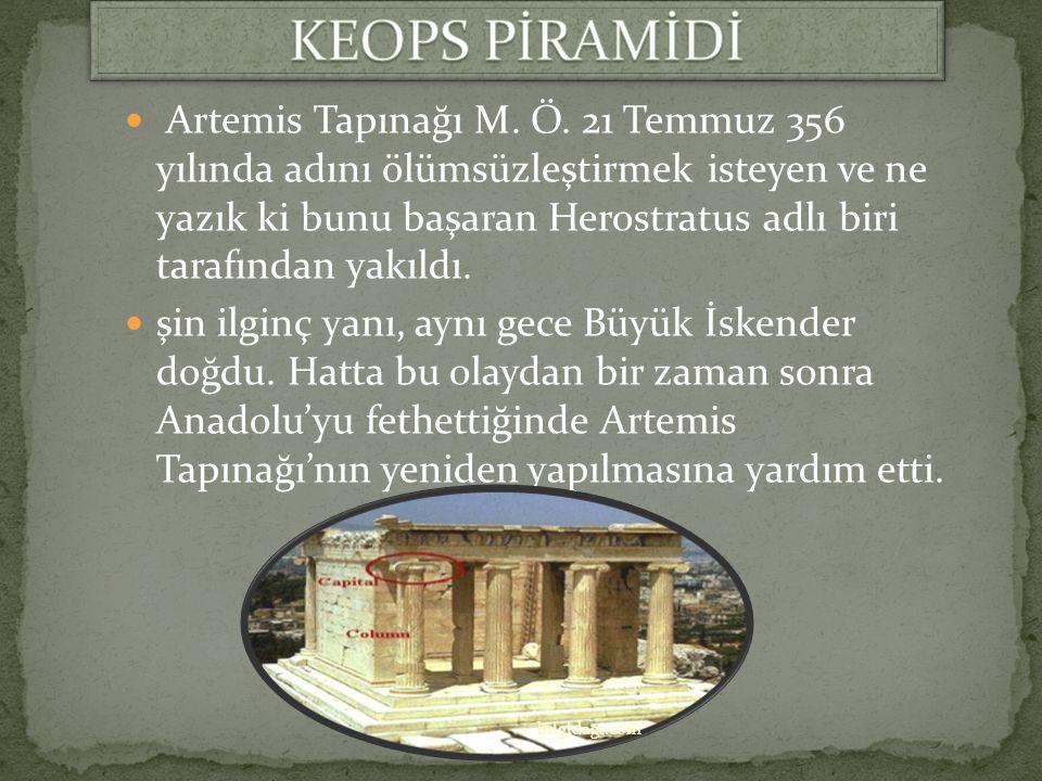 Tamamiyle mermerden oluşuyordu. Lidya kralı Croesus tarafından yaptırılan yapı, Yunan mimar Chersiphron tarafından tasarlanmıştı ve dönemin en büyük h
