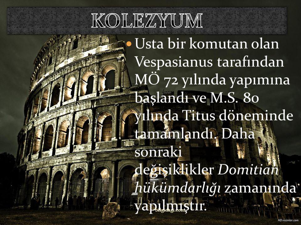 İtalya'nın başkenti Roma'da bulunan Flavianus Amfitiyatro olarak da bilinen Kolezyum bir arenadır. bilgidagi.com