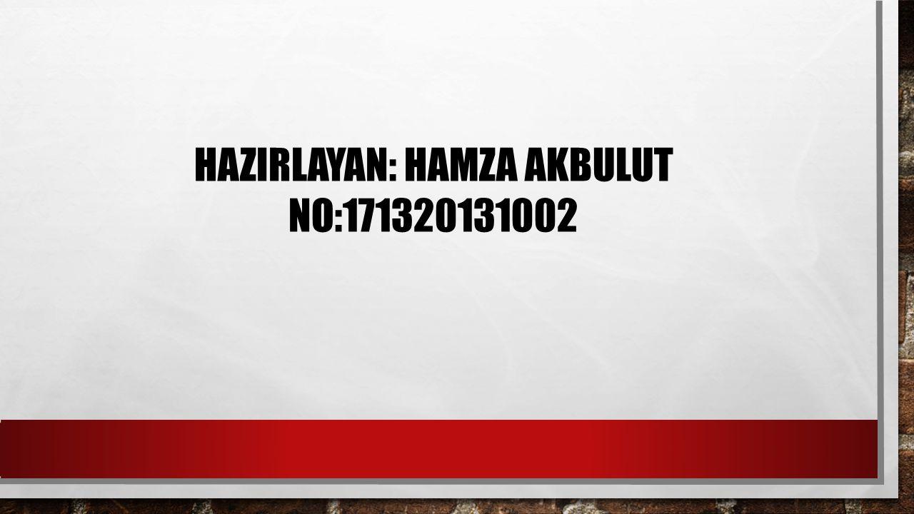 HAZIRLAYAN: HAMZA AKBULUT NO:171320131002