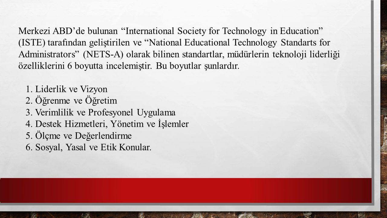"Merkezi ABD'de bulunan ""International Society for Technology in Education"" (ISTE) tarafından geliştirilen ve ""National Educational Technology Standart"