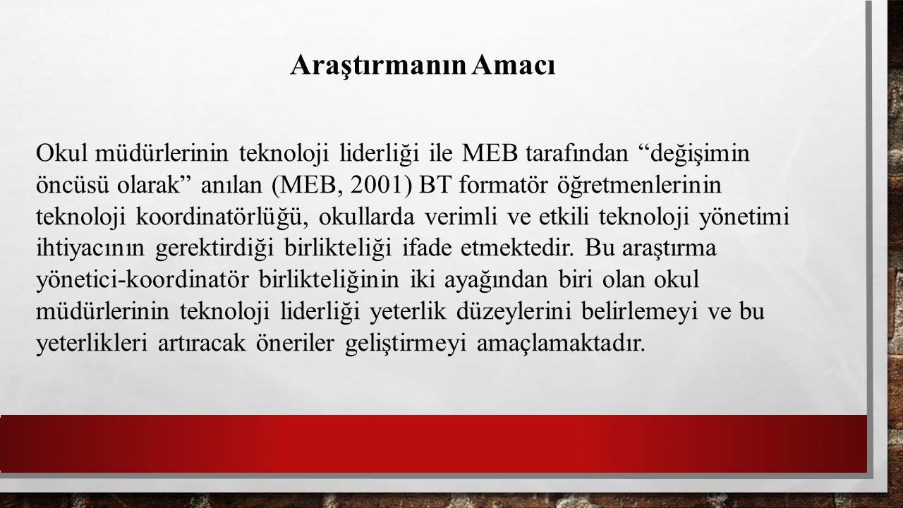 """Araştırmanın Amacı Okul müdürlerinin teknoloji liderliği ile MEB tarafından """"değişimin öncüsü olarak"""" anılan (MEB, 2001) BT formatör öğretmenlerinin t"""
