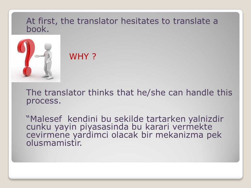 "At first, the translator hesitates to translate a book. WHY ? The translator thinks that he/she can handle this process. ""Malesef kendini bu sekilde t"