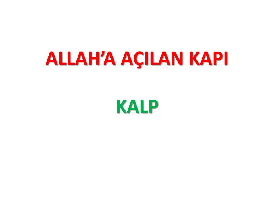 ALLAH'A AÇILAN KAPI KALP