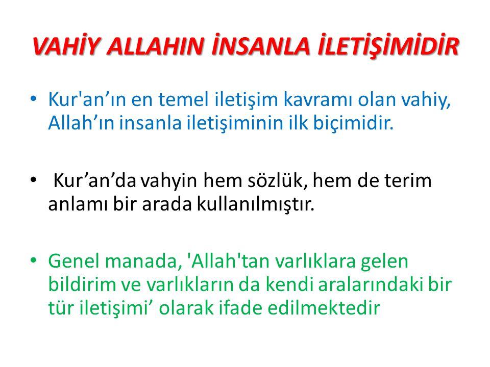 VAHİY ALLAHIN İNSANLA İLETİŞİMİDİR Kur'an'ın en temel iletişim kavramı olan vahiy, Allah'ın insanla iletişiminin ilk biçimidir. Kur'an'da vahyin hem s