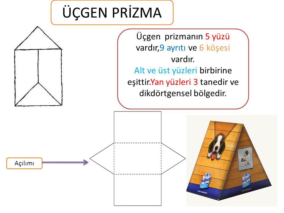 ÜÇGEN PRİZMA Üçgen prizmanın 5 yüzü vardır,9 ayrıtı ve 6 köşesi vardır. Alt ve üst yüzleri birbirine eşittir.Yan yüzleri 3 tanedir ve dikdörtgensel bö