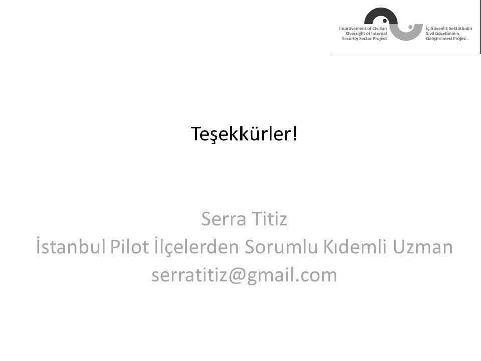 Teşekkürler! Serra Titiz İstanbul Pilot İlçelerden Sorumlu Kıdemli Uzman serratitiz@gmail.com
