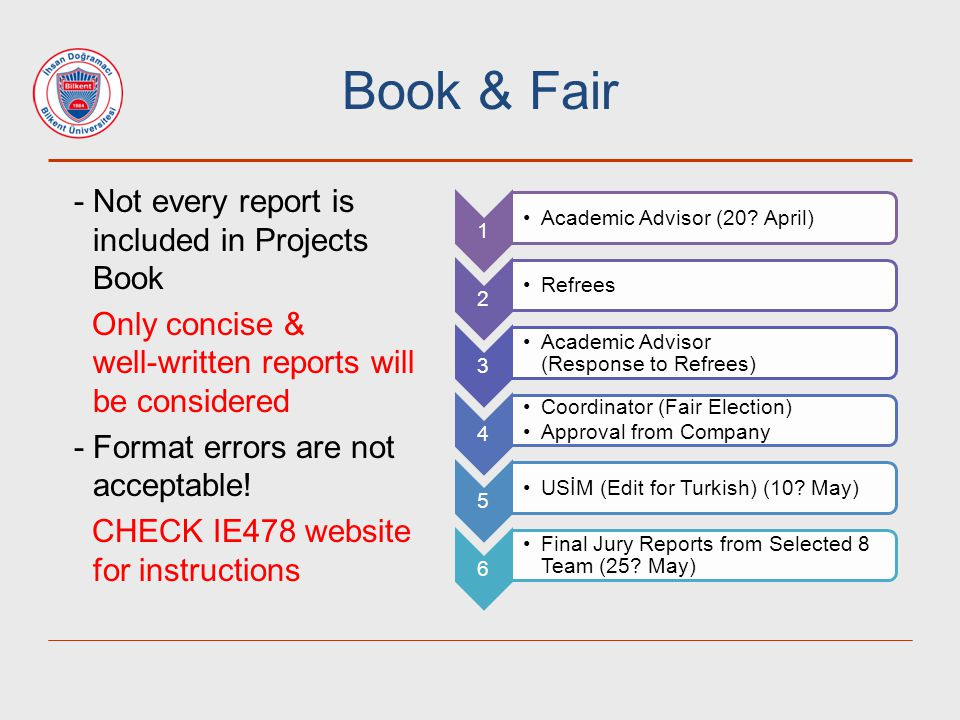 Book & Fair - Not every report is included in Projects Book Only concise & well-written reports will be considered - Format errors are not acceptable!