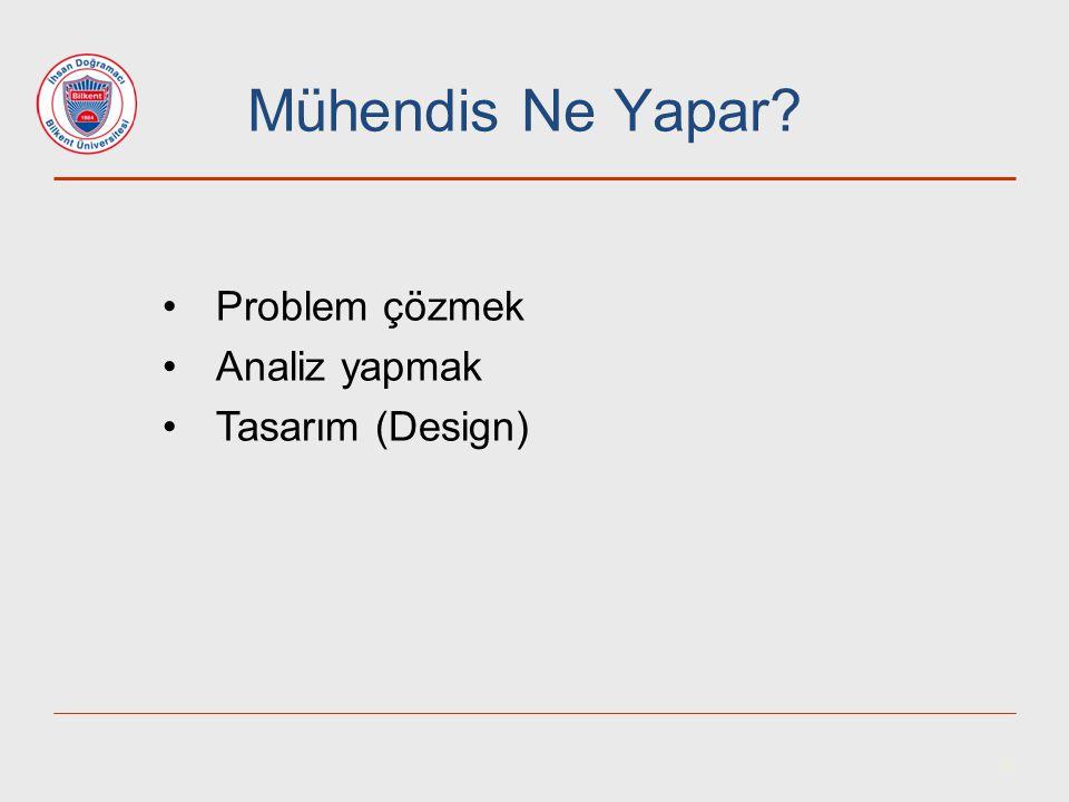 4 Mühendis Ne Yapar? Problem çözmek Analiz yapmak Tasarım (Design)