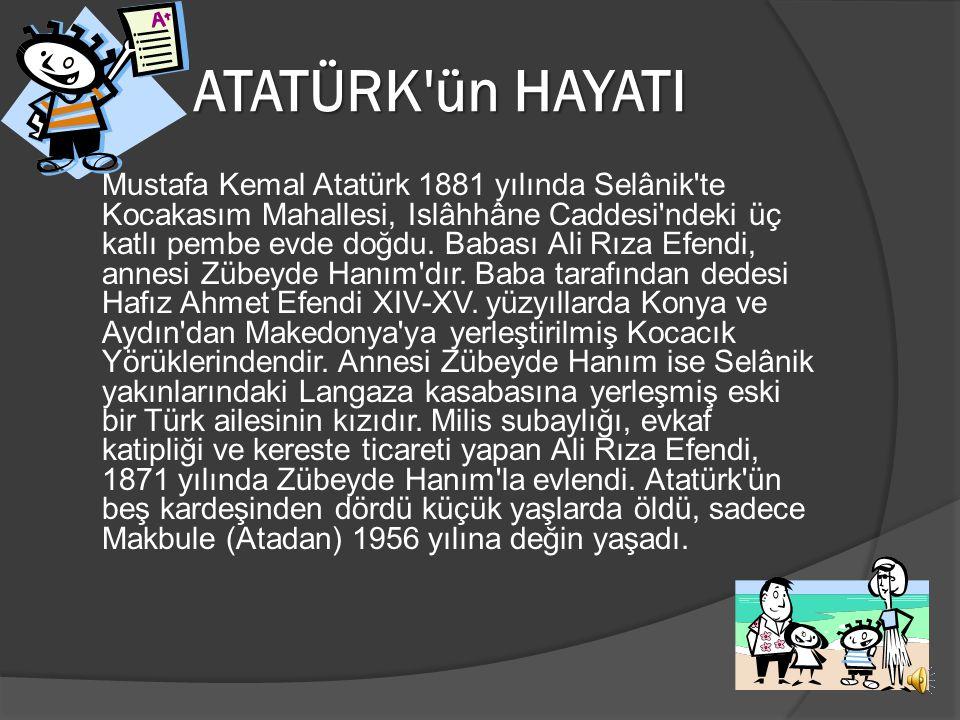 ATATÜRK'ün HAYATI 1881-1938
